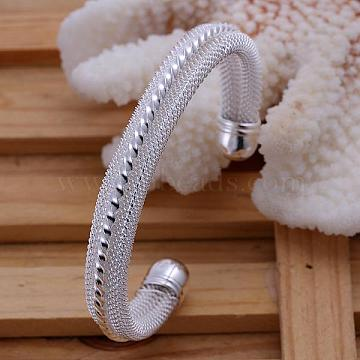 Classic Brass Cuff Bangles For Women, Silver Color Plated, 65mm(BJEW-BB12230)