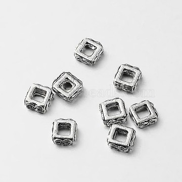 Antique Silver Square Alloy Spacer Beads