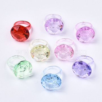 Transparent Acrylic Finger Rings, Oval, Mixed Color, US Size 8 3/4(18.7mm); about 112pcs/500g(RJEW-T012-01)