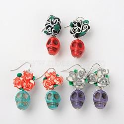 Élégantes perles howlite crâne de boucles d'oreilles, avec des perles de fleur d'argile de polymère et laiton boucle d'oreille crochets, de couleur métal platine , couleur mixte, 49mm, pin: 0.7 mm(EJEW-JE01060)