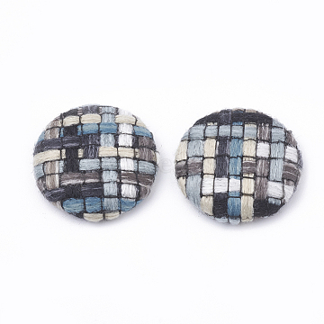 Cloth Fabric Covered Cabochons, with Aluminum Bottom, Flat Round, Platinum, SteelBlue, 25.5x6.5mm(X-WOVE-N005-04B)