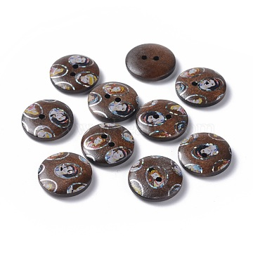Printed Wooden Buttons, 2-Hole, Dyed, Flat Round, Coconut Brown, 20x4mm, Hole: 2mm(BUTT-A024-32L-10A)