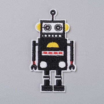 Computerized Embroidery Cloth Iron on/Sew on Patches, Costume Accessories, Appliques, for Backpacks, Clothes, Robot, Black, 77x43x1.5mm(X-DIY-I024-22)