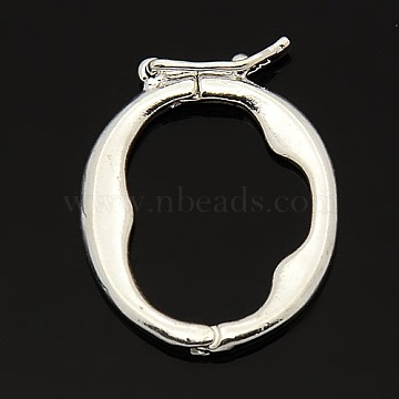 Brass Shortener Clasps, Twister Clasps, Oval Ring, Silver Color Plated, 21x18x2mm(KK-M004-03S)