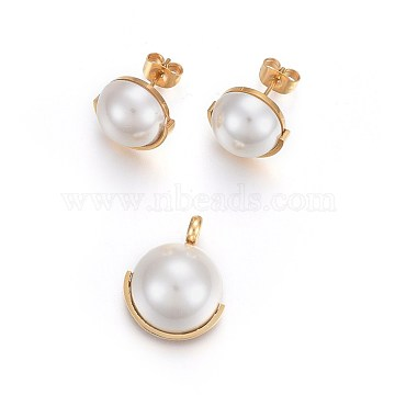 304 Stainless Steel Jewelry Sets, Pendant and Stud Earrings, with Acrylic Pearl Beads, Half Round, White, Golden, 20.5x17x9mm; Hole: 3mm; 19x13mm; Pin: 0.8mm(SJEW-F186-06G)