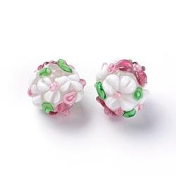 Fait main perles au chalumeau cahoteuses, rond, colorées, 12~13mm, Trou: 1.5~1.6mm(LAMP-E021-06C)
