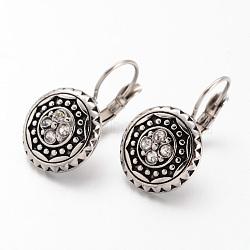 316 boucles d'oreilles à levier en acier inoxydable, plat rond, avec des strass, argent antique, 24x14x3.5 mm; broches: 0.8 mm(EJEW-K042-22AS)