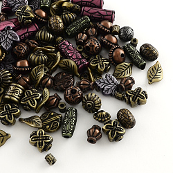 Assorted Antique Style Acrylic Beads, For Jewelry Making, Mixed Shapes, Mixed Color, 6~25x5~15x2~12mm, Hole: 1~3mm(MACR-R546-03)