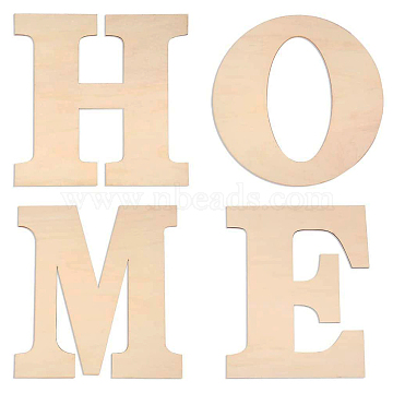 Letter HOME Unfinished Wood Blank Cutouts, for DIY Crafts, Wedding, Home Decoration and Paint, Mixed, 30x24~29.5x0.3cm; 4pcs/set(DIY-X0294-10)