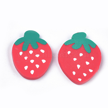 Handmade Polymer Clay Cabochons, Strawberry, Red, 22~23x16~18x2~3mm(CLAY-S091-52)