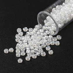 FGB&reg 11/0 Transparent Glass Seed Beads, Grade A, Inside Color, Luster Plated, Round, White, 2.3x1.5mm, Hole: 1mm; about 48500pcs/pound(SEED-N001-F-238)