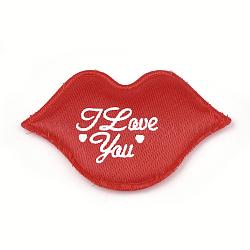 patchs de satin, avec une éponge à l'intérieur, lèvre avec mot, rouge, 37x58x2.5 mm(X-FIND-S282-14C)