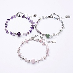 Natural Gemstone Chip Anklets, with Iron Eye Pin, Tibetan Style Pendants and Lobster Clasp, 9-1/2 inches(240mm)(X-AJEW-AN00177)