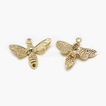 Brass Charms, Bee, Real 18K Gold Plated, 15x18x3mm, Hole: 1mm(X-KK-N200-067)