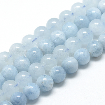Natural Aquamarine Beads Strands, Grade A, Round, 6~7mm, Hole: 1mm, about 60~67pcs/strand, 15.7 inches(X-G-R446-6mm-05)