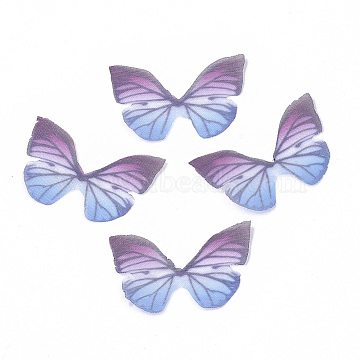 Two Tone Polyester Fabric Wings Crafts Decoration Wings Crafts Decoration, for DIY Jewelry Crafts Earring Necklace Hair Clip Decoration, Butterfly Wing, Old Rose, 21x30mm(X-FIND-S322-007A-02)