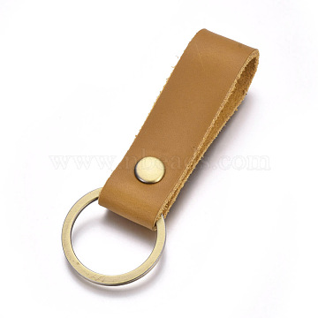 Cowhide Leather Keychain, with Antique Bronze Plated Alloy Key Rings, Peru, 90x18mm(X-KEYC-WH0014-A03)