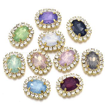 Resin Rhinestone Cabochons with Crystal Rhinestone and Brass Findings, Oval, Mixed Color, Golden, 19.5x16x6mm(RB-S066-22G)