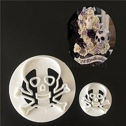 Emporte-pièces en plastique de qualité alimentaire, moules à biscuits, outil de cuisson biscuit, crâne pour Halloween, blanc, 40x8mm; 75x8mm; 2pcs / set(DIY-L020-07)