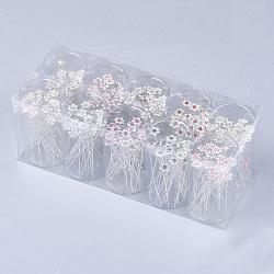вилки железа волос, со стразами и пластиковой имитацией жемчуга, цветок, cmешанный цвет, 67 мм; около 200 шт / коробка(OHAR-S200-08-B)