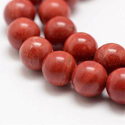 """Chapelets de perles en jaspe rouge naturel, a- année, rond, 6mm, trou: 1mm; environ 63 pcs/chapelet, 15.5"""" (39 cm)(G-E375-6mm-03)"""