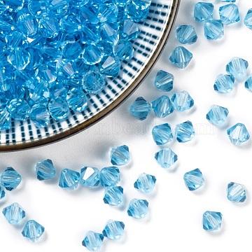 Czech Glass Beads, Faceted, Bicone, Lt.Sky Blue, 6mm in diameter, hole: 0.8mm, 144pcs/gross(302_6mm202)