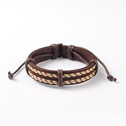 Bracelets réglables unisexe en corde de peau de vache, avec corde tressée en tissu, coconutbrown, 52x55mm(BJEW-L544-05B)
