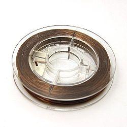 Fil élastique de perles extensible solide, chaîne de cristal élastique plat, coconutbrown, 0.8 mm; environ 10 m/rouleau(EW-N002-05)