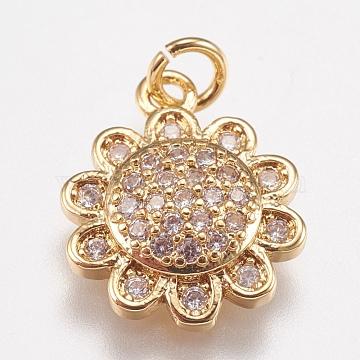 Brass Micro Pave Cubic Zirconia Charms, Flower, Golden, 14x11.5x3mm, Hole: 2mm(X-ZIRC-E147-34G)