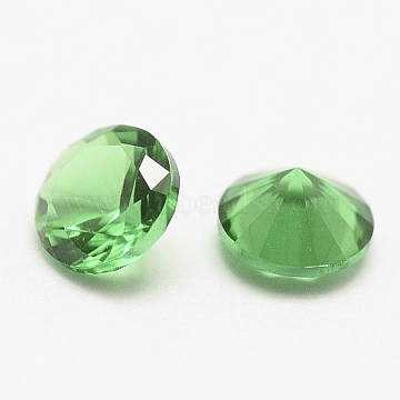 Cubic Zirconia Pointed Cabochons, Faceted Diamond, SpringGreen, 1mm(X-ZIRC-G075-1mm-01)