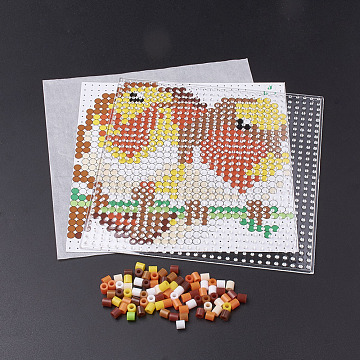 DIY Melty Beads Fuse Beads Sets: Fuse Beads, ABC Plastic Pegboards, Pattern Paper and Ironing Paper, Squirrel Pattern, Square, Colorful, 14.7x14.7cm(DIY-S033-102)
