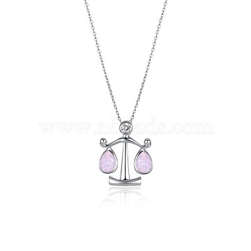 Austrian Crystal Pendant Necklaces, with 925 Sterling Silver Cable Chains, 12 constellation, Libra, Platinum, 395_Rose Water Opal, 16.14 inches(41cm)(NJEW-BB34127-B)