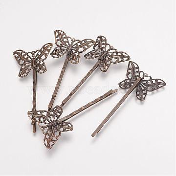 Brass Hair Bobby Pin Findings, Butterfly, Antique Bronze, 2x55x2mm, Tray: 30x22x1mm(KK-G038-AB)