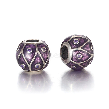 Antique Silver Plated 925 Sterling Silver European Beads, Large Hole Beads, with Cubic Zirconia and Enamel, Carved with 925, Round, Purple, 11.5x10mm, Hole: 4mm(STER-L062-01B)