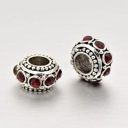 Plaqué argent antique perles de strass en alliage, perles de rondelle avec grand trou , siam, 11x6.5mm, Trou: 5mm(RB-J503-22AS)