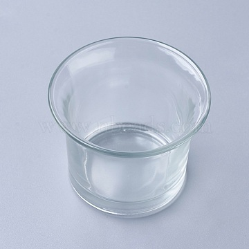 Glass Candle Cups, Clear, 62x46mm(AJEW-WH0076-01)