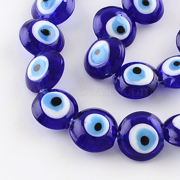 Flat Round Evil Eye Lampwork Bead Strands, Blue, 15~16x8~9mm, Hole: 2mm; about 24pcs/strand, 13.7 inches(X-LAMP-R118-01)