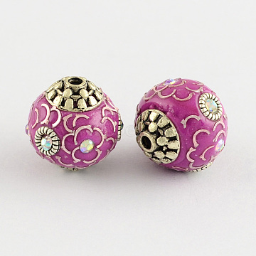 Round Handmade Grade A Rhinestone Indonesia Beads, with Alloy Antique Silver Metal Color Cores, Old Rose, 14x14x13mm, Hole: 1.5mm(X-IPDL-S033-05)