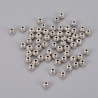 Tibetan Style Alloy Spacer Beads, Lead Free and Cadmium Free, Bicone, Antique Silver, 5x3mm, Hole: 1mm