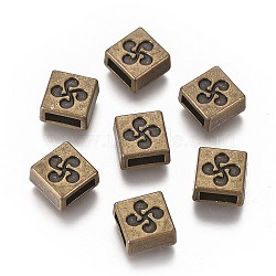 Tibetan Style Alloy Square Slide Charms, Cadmium Free & Nickel Free & Lead Free, Antique Bronze, 9x9x5mm, Hole: 6x2mm(X-TIBE-S264-01AB-NR)