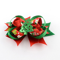 Christmas Grosgrain Bowknot Alligator Hair Clips, with Iron Clips, Red, Platinum, 105x135mm; clip: 56x8mm(PHAR-R167-03)