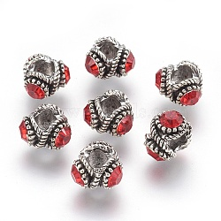 Tibetan Style Alloy Rhinestone Beads, Rondelle, Antique Silver, Siam, 13.5x9.5mm, Hole: 6mm(PALLOY-P172-073)