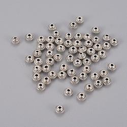 Perles intercalaires en argent tibétain argent antique bicône, sans plomb et sans cadmium et sans nickel, 5x3 mm, trou: 1.5 mm(X-LFH10167Y)