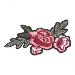 fer à repasser informatisé / coudre des patchs, accessoires de costumes, appliques, fleur, Indianred, 190x100x1.5 mm(AJEW-S069-098)