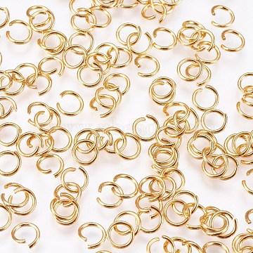 304 inox Anneaux ouverte, connecteurs métalliques pour la fabrication de bijoux et accessoires de porte-clés, or, Jauge 21, 5x0.7 mm(STAS-F084-26G)