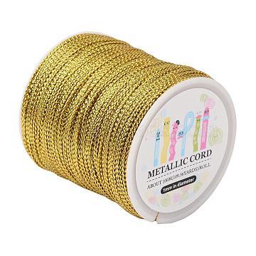 Jewelry Braided Thread Metallic Cords, Goldenrod, 1mm, 109.36yards/roll(100m/roll)(MCOR-JP0001-01)