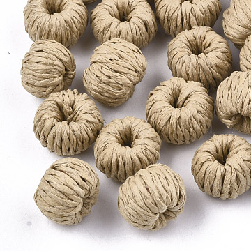 14mm BurlyWood Rondelle Paper Beads