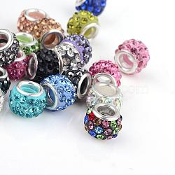 Polymer Clay Rhinestone European Beads, Large Hole Beads, Rondelle, with Silver Color Plated Brass Cores, Mixed Color, 10~12x7~8mm, Hole: 5mm