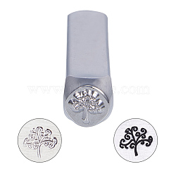 Timbres de sceau de fer, cuboïde, modèle d'arbre, platine, 64.5x10x10mm(AJEW-BC0005-19D)