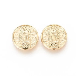 Brass Beads, Long-Lasting Plated, Flat Round with Virgin Mary, Real 18K Gold Plated, 15.5x4mm, Hole: 1.2mm(X-KK-F811-04G)